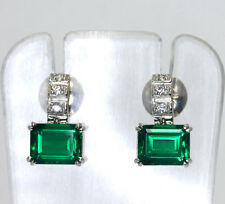 Emerald Doublet  drop earrings 18K white gold CZ round brilliant 6.10CTS