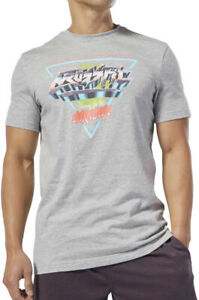 Reebok Crossfit Neon Retro Short Sleeve Mens Training Top - Grey