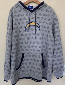 Vintage 90s NFL Reebok Chargers Gray Hoodie Sweatshirt 2XL XXL