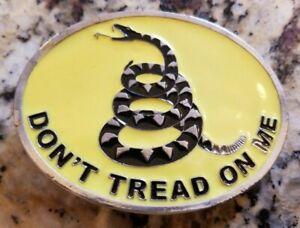 """Don't Tread On Me"" Gadsden Flag Belt Buckle - Yellow"