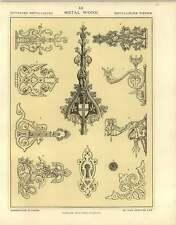 1880 lavoro in metallo: Finial CERNIERE Copertina Del Libro angolo Staffa Piastra buco della serratura