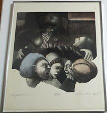DENNIS L. COX, SURREALISM INTAGLIO ETCHING PRINT ART WITH FACES, SIGNED # 6/20