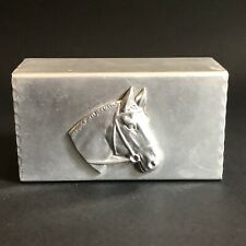Vintage Signed Bruce Fox Aluminum Match Box Holder Cover with Horses