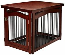 Indoor Dog Cage Crate Wood Pet Kennel Gate Door Fence Wooden Table Side End Home
