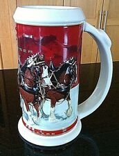 Steins Beer Budweiser Holiday Jug Clydesdale Horses Tankard Ale 25th Anniversary