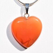 "Perfect Pendant™ Carnelian Agate HEART Pendant + 20"" Chain: ZENERGY GEMS™"