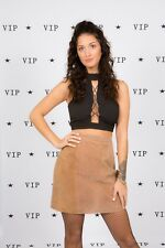 Vintage beige camel coloured suede leather skirt by 188 West