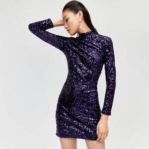 Warehouse - Velvet sequin high neck dress In Purple Size 12 Brand New RRP £59