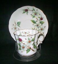 Hammersley Dogwood Blossom Tea Cup Saucer Set Bone China England + Free Stand