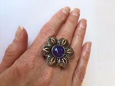 Designer Genuine Purple Jade Flower Design Bronze Ring Size 7