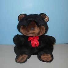 1993 Carlton Cards Heartwarmers Black & Tan Face Chubby Cheeks Teddy Bear Plush