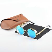 Round  Polarized Steampunk Sunglasses Vintage Mirrored Retro Eyewear Fashion