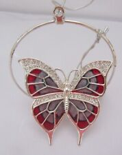 Ornament- BUTTERFLY in a Circle -Austrian Crystals- silver plated- gray red