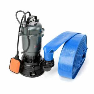 Submersible Sewage FLOOD Water Drain Septic Sump Cesspool Grinding Pump 10m Hose