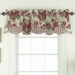 Waverly Norfolk Scallop Layered Valance 100% Cotton Red Rose Floral Check 60X16