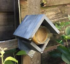 Rustic Old Grey Wooden Peanut butter Bird Feeder FSC 100% & Food Jar 15x13x19cm