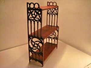 ANTIQUE WOODEN SHELF HAND CARVED FILIGREE 3 SHELVES WALL OR TABLE - VGC!