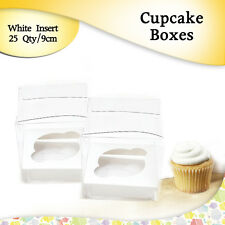 Clear Cupcake Boxes With White Insert 25 Pk 9 Cm Wedding Bomboniere/Party Boxes