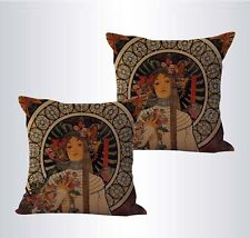 US SELLER-set of 2 awesome pillow Alphonse Mucha The Trappistine cushion cover