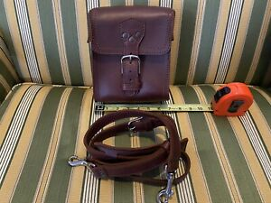 Saddleback Leather SMALL Square Leather Toiletry Camera Gadget Bag Chestnut RARE