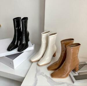 Women's high-heeled Martin boots British style thick-heeled short boots 7.5cm