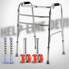 Adjustable Folding 4 Feets Elderly Medical Disablity Care Walker With 2 Wheels