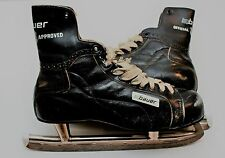 Vintage Bauer Leather Goalie Skates Made In Canada Official NHL Approved ~ Used