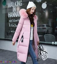 Women Winter Down Cotton Parka Long Big Fur Collar Hooded Coat Jacket outwear