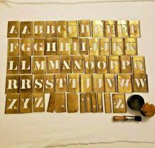 Vintage Capital Letter Brass Stencil Set Complete Alphabet Plus Interlocking