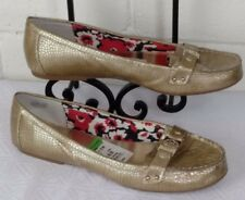 "ANNE KLEIN SHOES Size 11.5M  GOLD FLAT LOAFER ""SPIKE"" NWT  (point)"