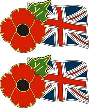 2 POPPY STICKERS WITH UNION JACK - for cars, tablets, laptops, scooters..
