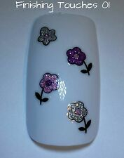 Nail Art Sticker- 3D Glitter Flower #452 BLE744D Transfer Stocking Pink Decal