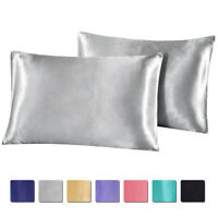 2 Pack Soft Smooth Satin Silk Pillowcase Luxury Bed Pillow Case Cushion Covers