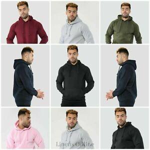 Mens Hooded Sweatshirt Fleece Top Plain Hoody Jumper Pullover Hoodie Gym Casual