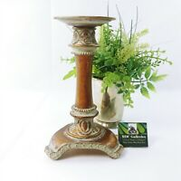 "Candle Holder Gold Distressed Look Metal 8"" H"