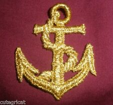4 pcs - Gold Embroidered Anchor Patches - Sew On
