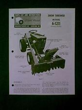 WHEEL HORSE TRACTOR SNOW THROWER 6 1211 MANUAL
