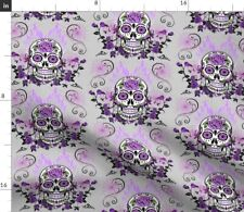 Sugar Skulls Skull Mexican Purple Gray Spider Fabric Printed by Spoonflower BTY