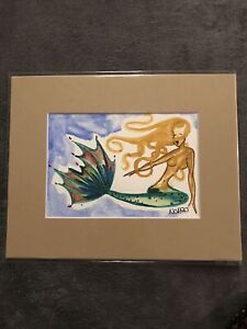 Original NOR Mermaid Watercolor Painting #7 In An 8x10 Matted