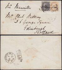 INDIEN 1863 QV duplex MEERUTT 164 box INDIA PAID+ TOO LATE railway TPO Edinburgh
