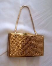 Vintage 30s' / 40's Small Gold Metal Makeup / Cigarette Evening Case w Handle