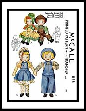 "McCall 1158 Stuffed DOLL Sewing Pattern Sunbonnet Sue 18"" & Sam 19"" Vintage"