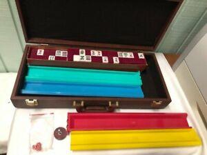 Vintage MAH JONG SET 148 Tiles 4 Racks Counter ORIGINAL CASE