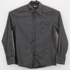 Kenneth Cole Reaction Mens Button Up LS Collared Shirt Medium Black Gray Striped