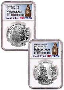 2017 Great Britain Landmarks 1 oz Silver Big Ben 2-Coin Set NGC PF70 UC