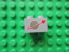 LEGO 1 x Stein 3004p90 hellgrau  1x2 bedr.  Space Logo   6901 452 894 s.g.