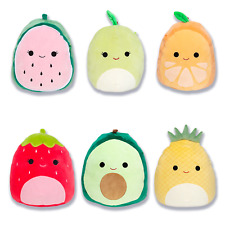 "Squishmallow Kellytoy 2020 Set of 6 Mini 5"" Fruits Collection Plush Doll"