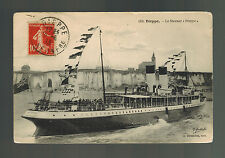 1913 Dieppe France Postcard Cover SS Dieppe Steamer Passenger Ship to paris