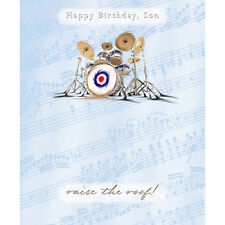 "Son Birthday Card ""Drum Kit & MOD Symbol/RAF Roundel"" size 7"" x 5.75""  JRHI 0012"