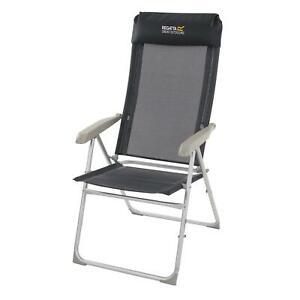 Regatta Colico Hard Armed Reclining Lounge Chair Garden Camping - Black